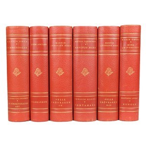 Antique Leather-Bound Books S/6