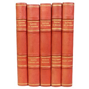 Antique Leather-Bound Books S/5