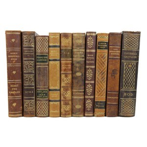 Art Deco Leather-Bound Books, S/10