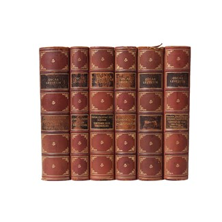 Scandinavian Leather-Bound Books S/6
