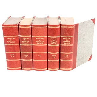 Designer Red Leather Books, S/5