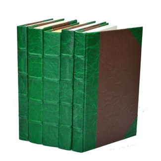 Leather Texture Parchment - Green, S/5